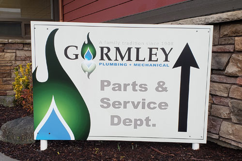 Follow the Parts & Service signs to Gormley Plumbing & Mechanical's retail store entrance.